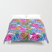 roses Duvet Covers featuring Roses by Aloke Design