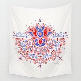 Sacred Lotus Mandala – Red & Blue Palette Wall Tapestry