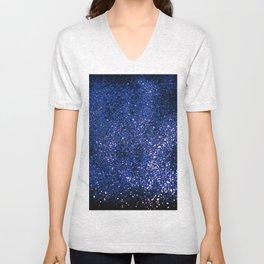 Sparkling DARK BLUE Lady Glitter #1 shiny #decor #art #society6 Unisex V-Neck