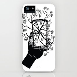 Break Free Cellphone Illustration - Hand holding cellphone growing a tree. iPhone Case