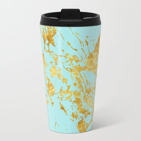 Luxury and glamorous gold glitter on aqua Sea marble Metal Travel Mug