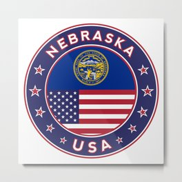 Nebraska, USA States, Nebraska t-shirt, Nebraska sticker, circle Metal Print