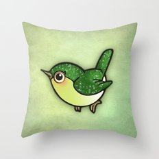 Cute Green Bird Throw Pillow