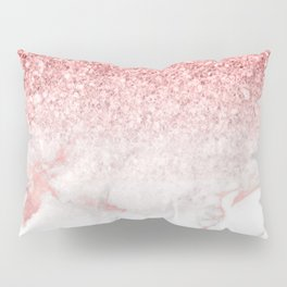 Rose-gold faux glitter and marble ombre Pillow Sham