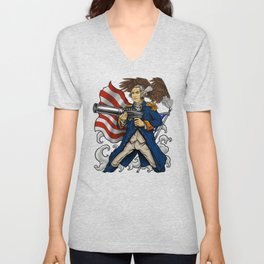 Patriotic Father Of Merica | Independence Day Unisex V-Neck