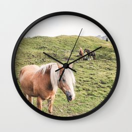 Dolomites III [ South Tyrol, Italy ] Horses Family in Moutain⎪Colorful travel photography Poster Wall Clock