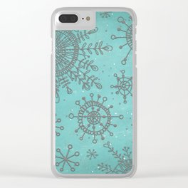 Blue and Silver Snowflakes Clear iPhone Case