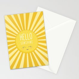 KAWAII SKY - happy smiling sun - hello sunshine quote Stationery Cards