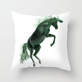 Happy Horse in Green Throw Pillow