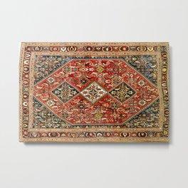 Qashqa'i  Antique Fars Persian Tribal Rug Metal Print