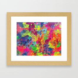 Colorful Abstract Relief Impaso Textured Painting - Detail after my artwork Dischromy 10 Framed Art Print