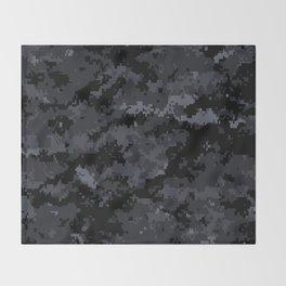 Pixelated Dark Grey Camouflage Throw Blanket