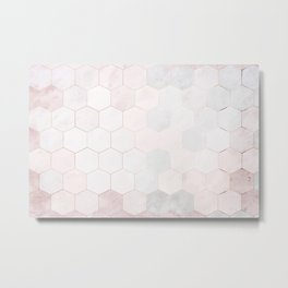 Pink Hexagons Metal Print