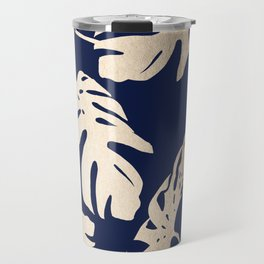 Simply Palm Leaves in White Gold Sands on Nautical Navy Travel Mug