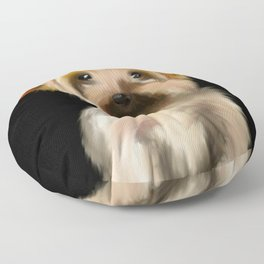 Cute Yorkie Pup on a Black Background Floor Pillow