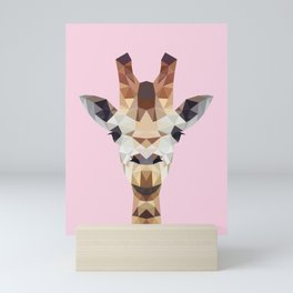 Pink and Brown Giraffe Mini Art Print