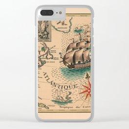 Atlantique Vintage Map design Clear iPhone Case