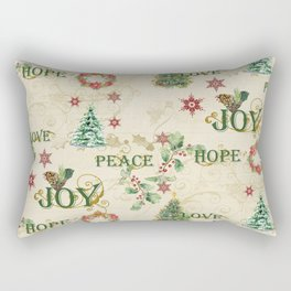 Christmas Love Joy Peace Collage Trees n Wreath Rectangular Pillow
