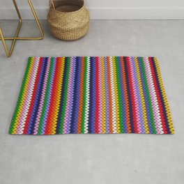 Knitted colorful lines Rug