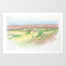 Portuguese villa and fields Art Print