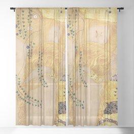 WATER SNAKES II, THE HYDRA - GUSTAV KLIMT  Sheer Curtain