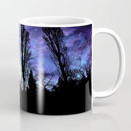 Black Trees Periwinkle Blue Lavender SPACE Coffee Mug