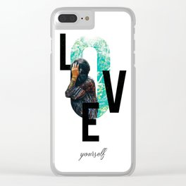 Modern Design, Love Yourself Quote, Self Care, Inspirational Quote, Double Exposure Clear iPhone Case