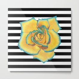 Yellow and Turquoise Rose on Stripes Metal Print