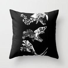 Prehistoric Bloom (Black version) Throw Pillow