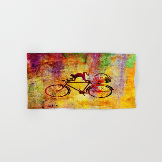 Cat and Bicycle Hand & Bath Towel
