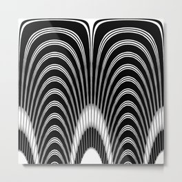 Geometric Black and White Abstract Skeletal Pattern Metal Print