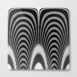 Black and White Geometric Arches Metal Print