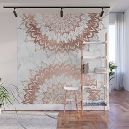 Modern chic rose gold floral mandala illustration on trendy white marble Wall Mural