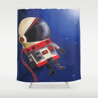 spaceman Shower Curtains featuring Spaceman by Sally Darby Illustration