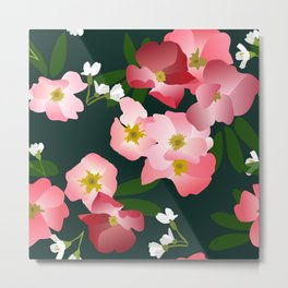 Pink Roses and Cherry Blossoms Metal Print