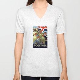 Together -- British Empire WW2 Unisex V-Neck