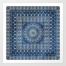 Old Bookshop Magic Mandala in Blue Art Print