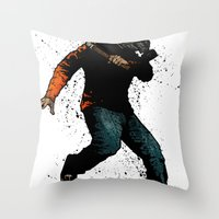 onward Throw Pillows featuring Onward Ever Downwards by Matthew Dunn