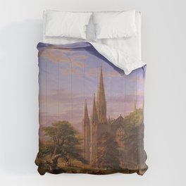 The Return Home medieval forest cathedral landscape painting by Thomas Cole Comforters