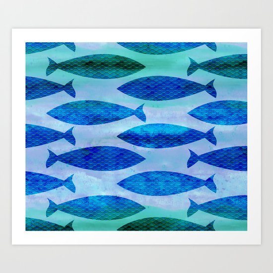 Blue Turquoise GreenWatercolor Fish Pattern Art Print