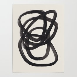 Mid Century Modern Minimalist Abstract Art Brush Strokes Black & White Ink Art Spiral Circles Poster
