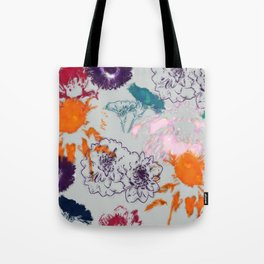 fall floral gray Tote Bag