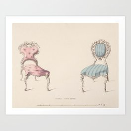 Design for Chairs Louis Quinze Style by Robert William Hume British // Fashion Furniture Sketches Art Print