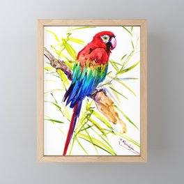 Parrot Scarlet Macaw, Tropical Birds, Jungle Red, Green Blue bright colored tropical artwork Framed Mini Art Print