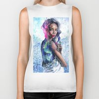 lights Biker Tanks featuring Northern Lights by Tanya Shatseva