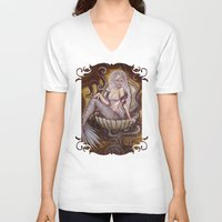 siren V-neck T-shirts featuring The Siren by Megan Mars
