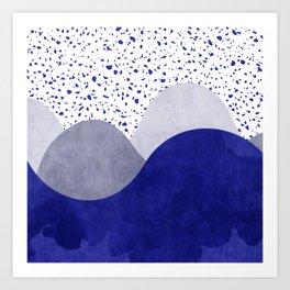 Terrazzo galaxy wave blue grey white Art Print