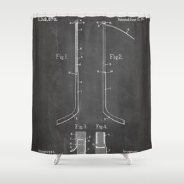 Ice Hockey Stick Patent - Ice Hockey Art - Black Chalkboard Shower Curtain