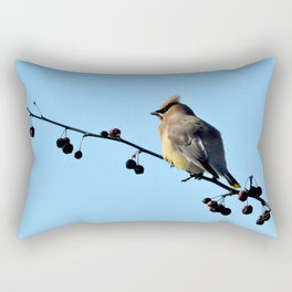 Waxwing on a Winter's Day Rectangular Pillow