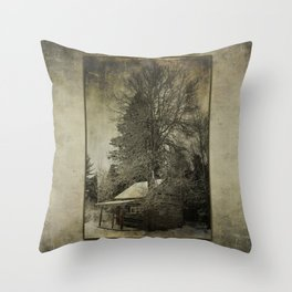 Log Cabin in the Woods Throw Pillow
